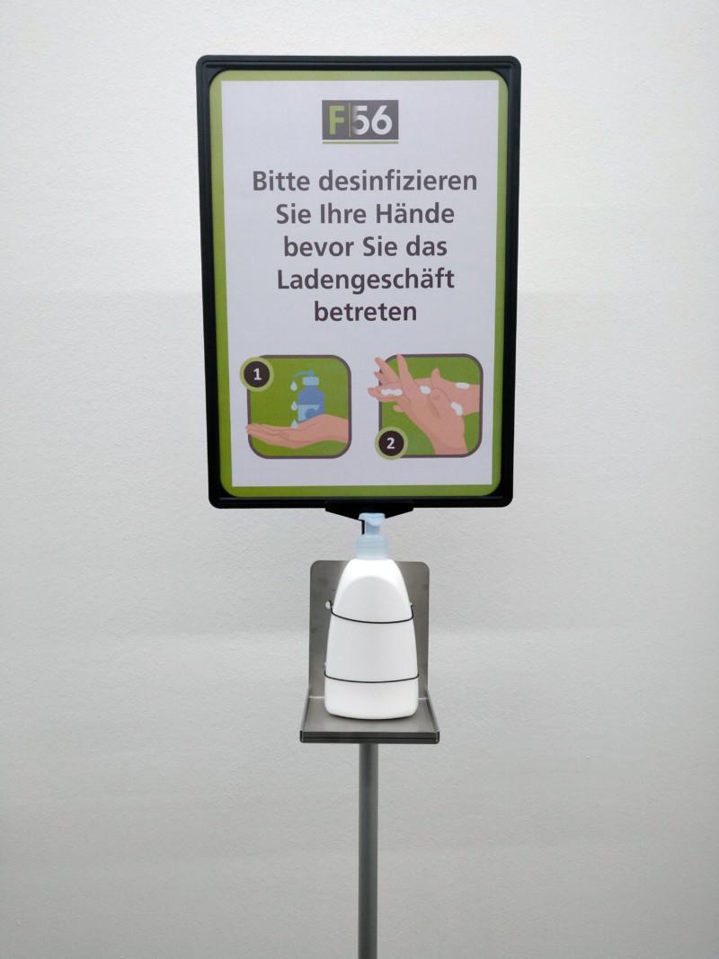 Desinfektionsmittelständer Schild